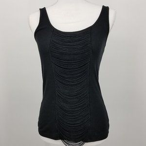Express Black Tank Top With Fringe Front